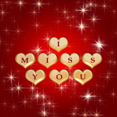 i miss you: 3d golden hearts, red letters, text - I miss you, background stars