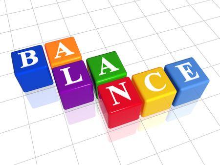 fondos violeta: 3d cajas de color con el texto - el equilibrio, palabra  Foto de archivo