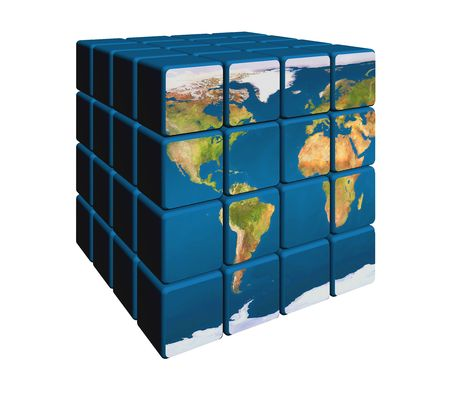 net bar: 3d colour boxes with world map like block puzzle