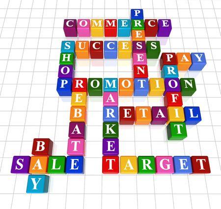 3d colour boxes crossword - sale; success; commerce; promotion; profit, market; rebate, bay, present, shop; retail; target, pay Stock Photo - 2557658