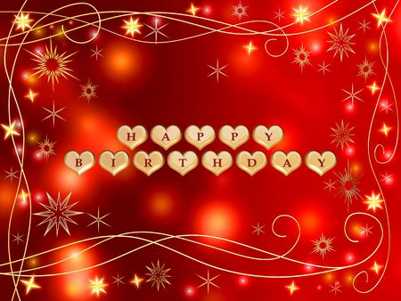 3d golden hearts, red letters, text - happy birthday, stars