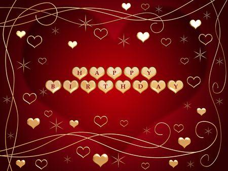 birthday flowers: 3d gouden harten, rode letters, tekst - happy birthday, bloemen, sterren