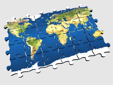 visions of america: 3d coloured puzzle with world map on pieces Stock Photo