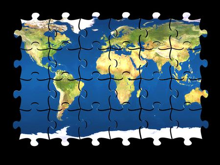 arrange: 3d coloured puzzle with world map on pieces isolated