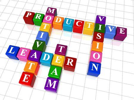 productive: 3d colour boxes crossword - motivate, leader, team, productive, vision