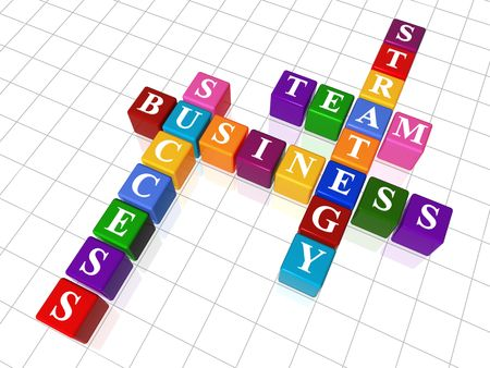 3d colour boxes crossword - business; strategy, success; team