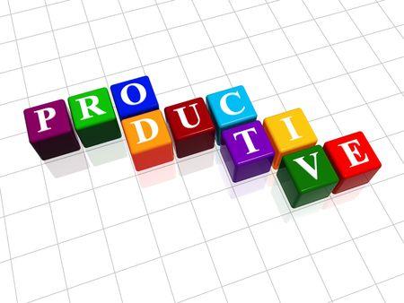 fondos violeta: 3d cajas de color con el texto - productivo, palabra  Foto de archivo