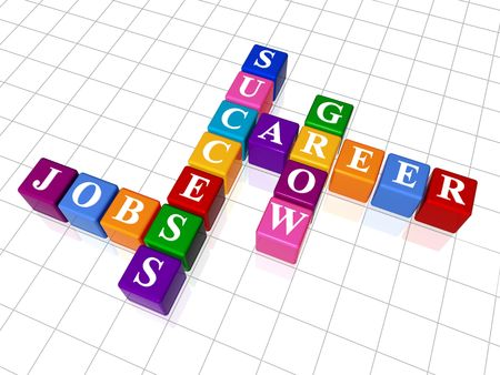3d colour boxes crossword - career, success, jobs, grow photo