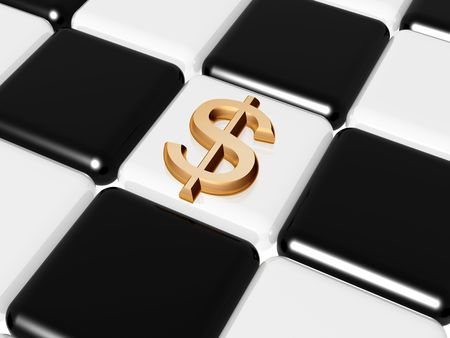 shah: 3d golden signs of dollar over chess-board Stock Photo