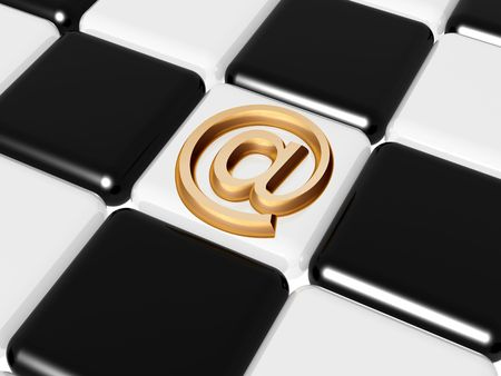 3d golden signs of e-mail symbol over chess-board Stock Photo - 3257376