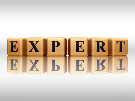 perito: 3d cajas de oro con el texto - de expertos, palabra, con la reflexi�n