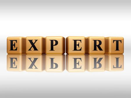 experienced: 3d golden boxes with text - expert, word, with reflection