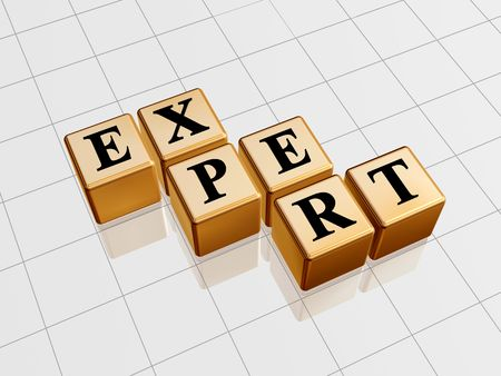 experienced: 3d golden boxes with text - expert, word