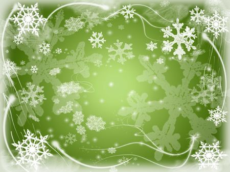 wintriness: white snowflakes over green background with feather corners Stock Photo