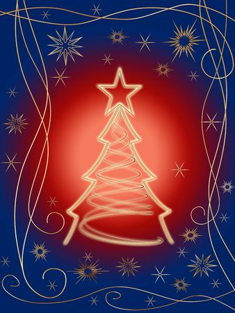 gleams: golden 3d christmas tree with gold stars, snowflakes and ornaments over red blue background Stock Photo
