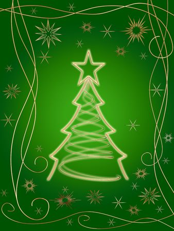 festoon: golden 3d christmas tree with gold stars, snowflakes and ornaments over green background