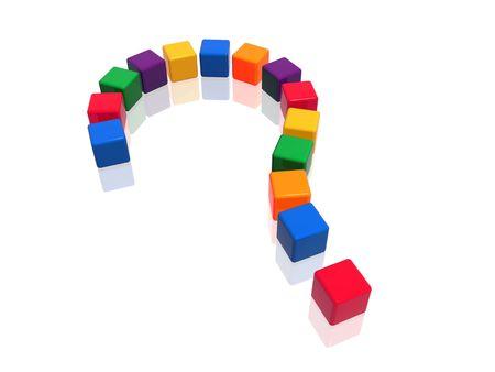 unravel: 3d colour boxes arranged like question-mark, variegated