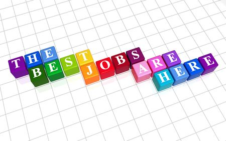 careerist: 3d colour boxes with text - the best jobs are here, word