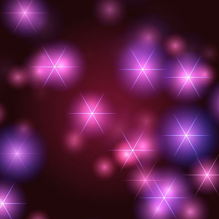 newcomer: white stars over violet, pink and blue background with lights and gleams
