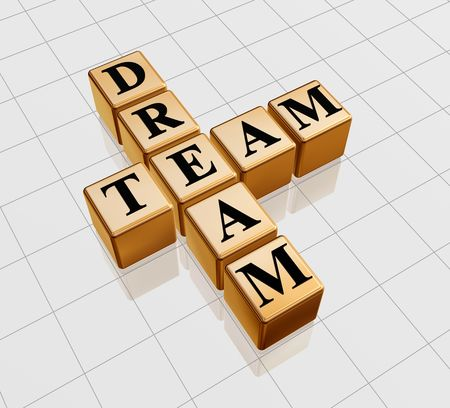 compromise: 3d golden boxes with text - dream team, crossword Stock Photo