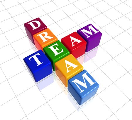 3d colour boxes with text - dream team, crossword Stock Photo - 3825684