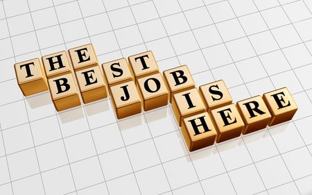 careerist: 3d golden boxes with text - the best job is here, word