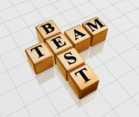 team mate: 3d golden boxes with text - best team, crossword