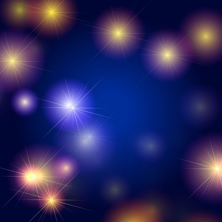 festiveness: white and yellow stars over blue and violet background, lights, gleams