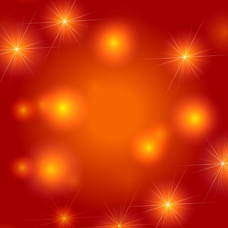 festiveness: white and yellow stars over orange background, lights, gleams Stock Photo