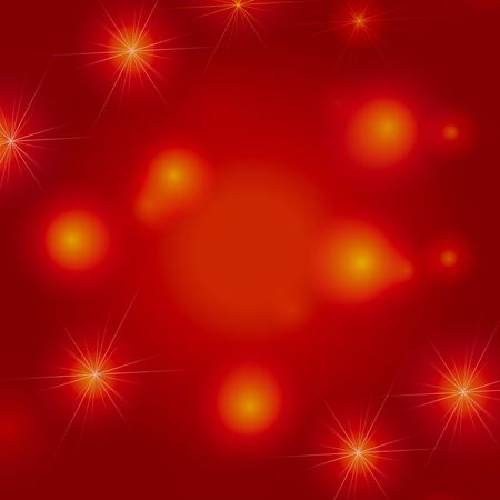 gleams: white and yellow stars over red and orange background, lights, gleams