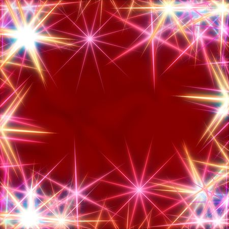 gleams: white stars over red background, lights, gleams