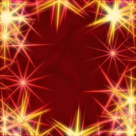 festiveness: yellow stars over red background, lights, gleams