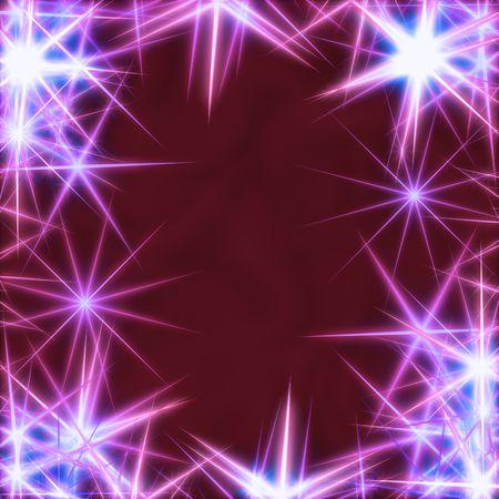 gleams: blue stars over violet, wine-red background, lights, gleams