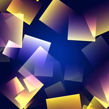 gleams: white, yellow, pink squares over blue background