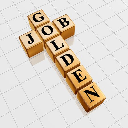 careerist: 3d gold boxes with text - golden job, crossword