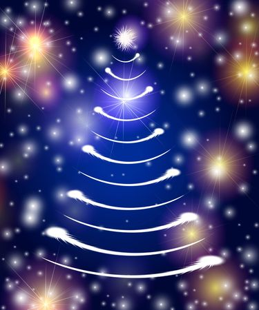 christmas tree drawn by white lights over blue background with stars Stock Photo - 3929945
