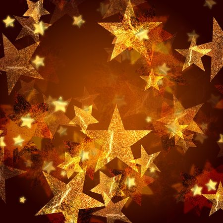 gleams: golden stars over gold background with feather center