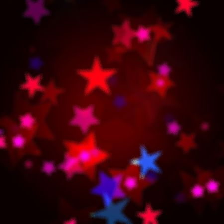 wintriness: red, blue and pink stars over dark background with feather center