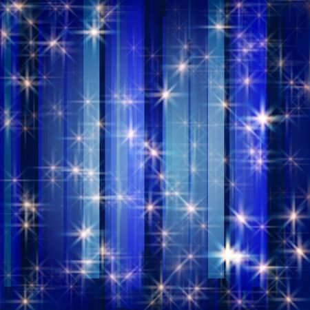 festiveness: white stars and snowflakes over blue background striped Stock Photo