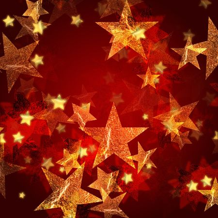 gleams: golden stars over gold red background with feather center Stock Photo
