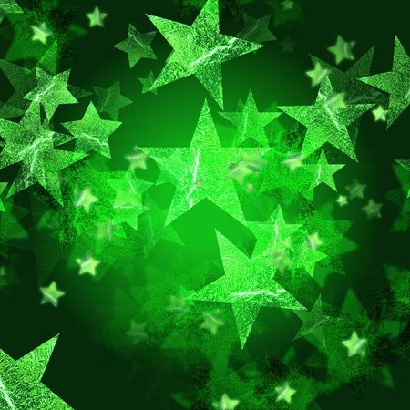 wintriness: green stars over dark green background with feather center