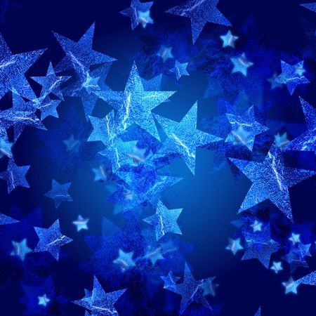 festiveness: blue stars over dark blue background with feather center