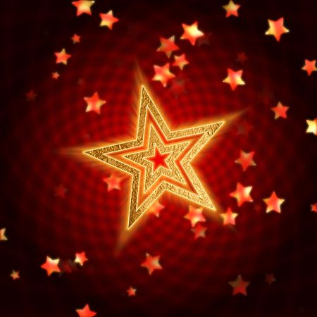 wintriness: golden stars with spiral over red background with feather center