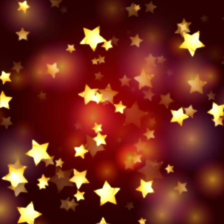 golden yellow stars over red violet lights background with feather center