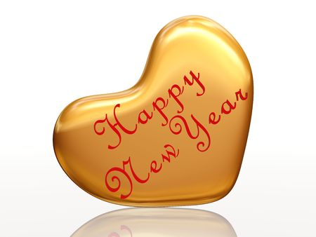 festiveness: 3d golden heart with text Happy New Year inside