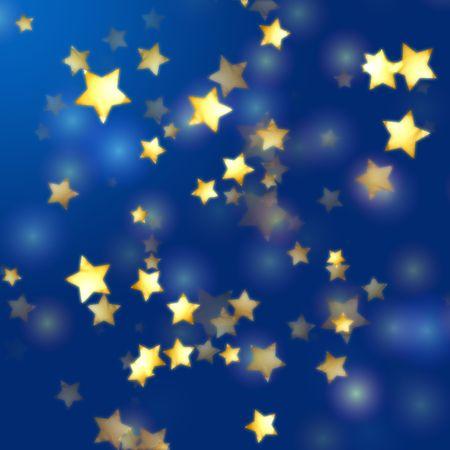 glint: estrellas doradas de amarillos sobre fondo azul con luces de plumas  Foto de archivo
