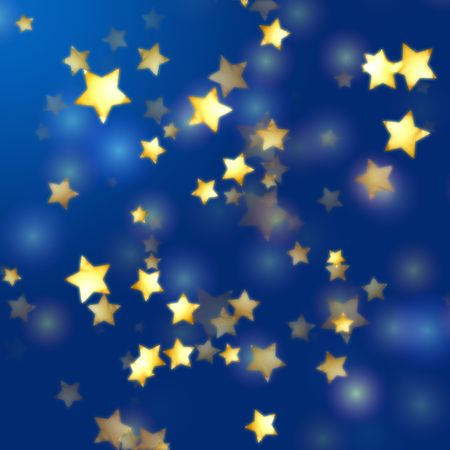 pale colors: golden yellow stars over blue background with feather lights
