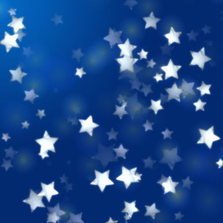 festiveness: white stars over blue background with feather lights
