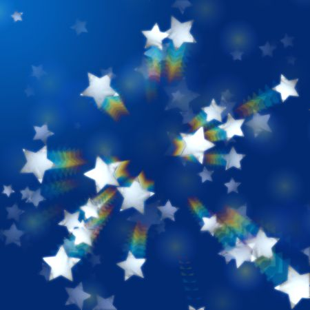 festiveness: white stars over blue background with rainbow effect Stock Photo