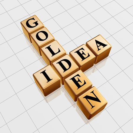 3d gold boxes with black letters with text - golden idea, crossword photo